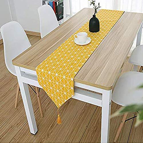 Bestenrose liefern Tischläufer/Tischdecke Dekoration 2 Seiten Baumwolle Leinen Klassische Tischwäsche Matte für Esszimmer Party Urlaub Dekoration (Gelb, 32 * 120cm)