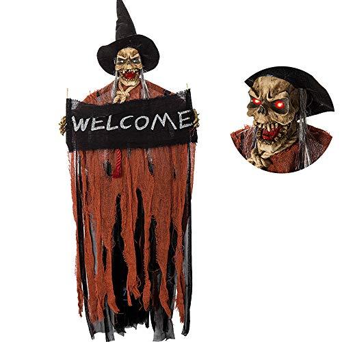 Halloween Deko Zombie Hängender Geist Hängender Horror Deko Horror Skelett mit Sound Glühenden Roten Augen (Orange)