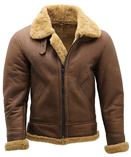 Infinity Men's Brown B3 Shearling Sheepskin WW 2 Bomber Leather Flying Aviator Jacket XL