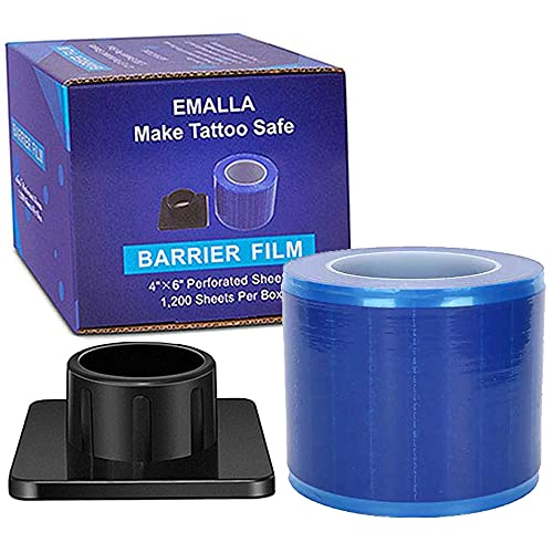 Barrier Film Roll - CINRA Barrier Film Roll 1200 Sheets 4'' x 6'' Tattoo Dental Disposable Protective PE Barrier Film with Dispenser