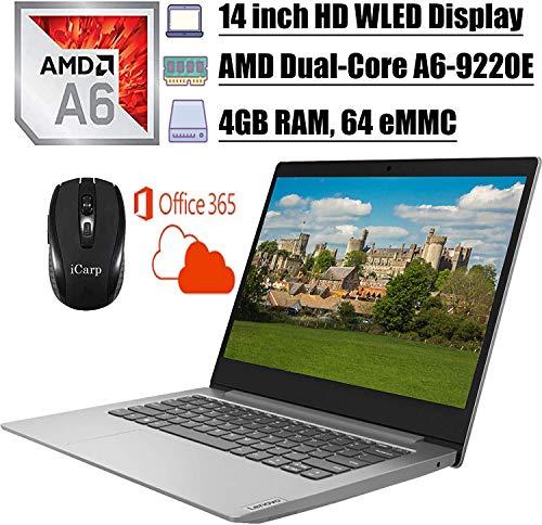 2020 Newest Lenovo IdeaPad 14 Laptop Computer 14 inch HD WLED Display AMD A6-9220e Processor 4GB DDR4 64GB eMMC Office365Personal WiFi HDMI Webcam Win10 + iCarpWirelessMouse