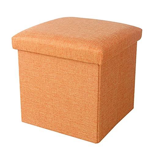 SQQSLZY Asiento de reposapiés de almacenamiento plegable de lino, otoño cuadrado de almacenamiento pequeño, tablón de ropa de cama de color sólido, taburete de cambio de zapatos, taburete de maquillaj