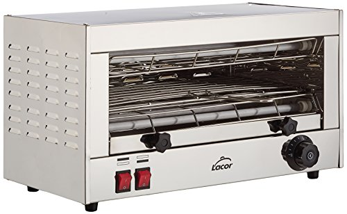 Lacor 69172 Tostador Eléctrico Horizontal Parrilla Simple, Gris, 2400 W