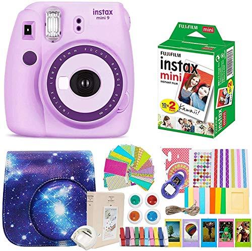 Fujifilm Instax Mini 9 Camera + Fujifilm Instax Mini Camera + Camera Instax Mini 9 Purple+ Instax Mini 9 Case + Instax Accessories Kit Bundle, Instant Camera Gift Sets - Light Purple