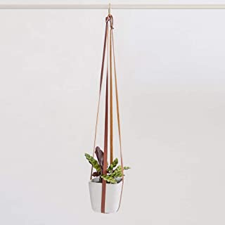 Plant Hanger | Hanging Planters for Indoor Plants | Adjustable Vegan Leather in Beige or Brown | Planter Holder for Pot or Basket to Hang from Wall (Mahogany Brown)