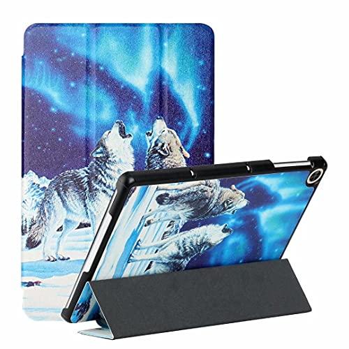 Funda para Samsung Galaxy Tab A 8.0 (2019) T290/T295/T297 – Funda de piel sintética de primera calidad, ultra ligera, con función atril para despertar/sueño, lobo de nieve