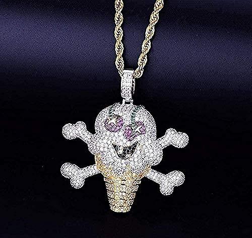 WYDSFWL Halskette Schädel Eisform Halskette & Anhänger Seilkette Zirkon Zirkon Hip Hop Schmuck Für Geschenk Für Frauen Männer Geschenk Halskette