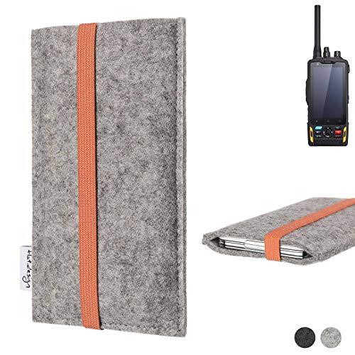 flat.design Handy Hülle Coimbra für Ruggear RG760 - Schutz Case Tasche Filz Made in Germany hellgrau orange