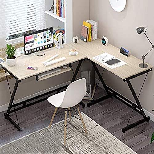 FSXJD En Forma de L Escritorio de Oficina con Soporte de Monitor de Esquina Multifunción Escritorio de computadora Fácil instalación Escritorio de escritorio-120x51x74cm Roble