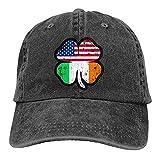 Dyfcnaiehrgrf Bandera de Estados Unidos e Irlanda en el trébol irlandés Gorras de béisbol Unisex suave Casqueta Cap Moda Sombrero Vintage Ajustable Moda Negro