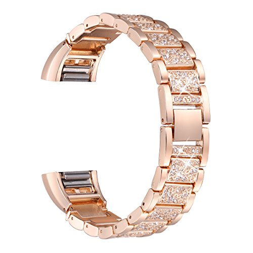 bayite Bling Bands Compatible Fitbit Charge 2, Replacement Metal Bands with Rhinestone Bracelet, Rose Gold