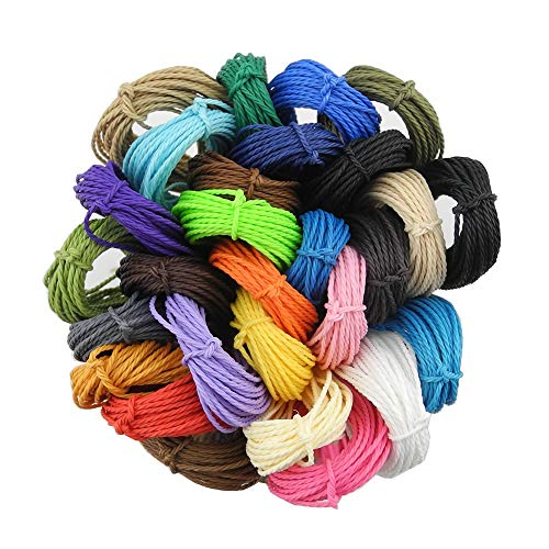 INSPIRELLE 28 Colors Waxed Polyester Twine Cord 1mm Macrame Bracelet Thread Artisan String for Jewelry Making, 10m Each Color