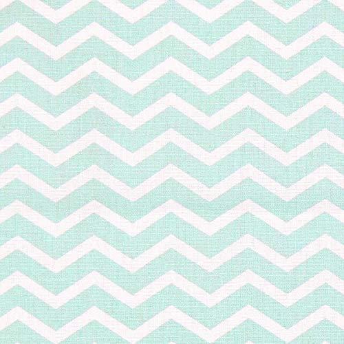 Fabulous Fabrics Cretonne Zick Zack Tezy 1 – mintgrün — Meterware ab 0,5m — Oeko-Tex Standard 100 Produktklasse I — zum Nähen von Baby Deko, Kinder und Bettwäsche