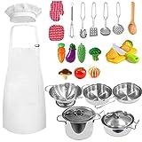 FUQUN 27 Piezas Kitchen Pretend Play Toys Juego de Ollas y Sartenes de Acero Inoxidable, Utensilios de Cocina, Cortando Verduras para Niños