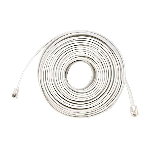 50 Ft 4C Telephone Line Extension Cord Cable Foot for Any Phone, Modem, Fax Machine, Answering Machine, Caller ID (White) California