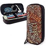 Bruce American Apellido Funda de lápiz de cuero de alta capacidad Soporte para bolígrafo Bolsa de almacenamiento Organizador de caja Bolígrafo de maquillaje escolar Bolso de cosméticos portátil