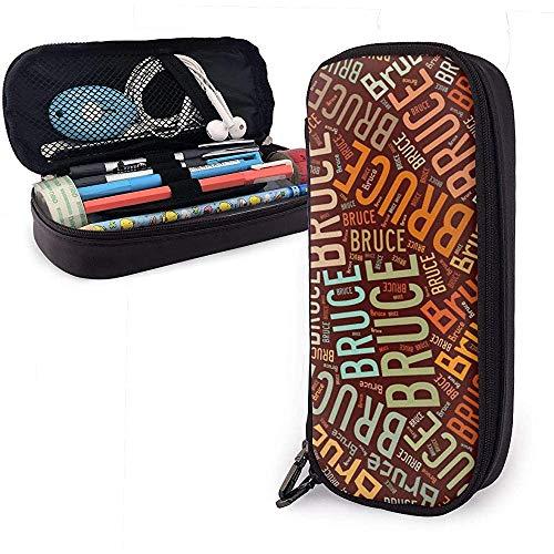 Bruce - Apellido americano Estuche de cuero de alta capacidad Estuche de lápices Estuche de papelería Organizador Organizador Maquillaje escolar Bolso de cosméticos portátil