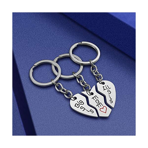 Mom Birthday Gift from Daughter – 3PCS Stainless Steel Mother Big Sis Little Sis Keychain Gifts Set for Mother's Day