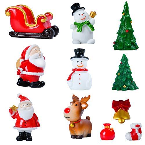 KATELUO 11 Miniatur Harz DIY Garten Figuren,Weihnachten Mini Ornamente Set,Weihnachtsdeko Tisch Ornamente Desktop,Mini Weihnachtsmann Sukkulenten Bonsai Blumentopf Micro Landschaft Dekoration