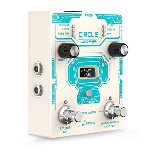 Donner Circle Looper Record Gitarren Effektpedal mit Time Progress Bar Display Loop Pedal Max. 4min Aufnahmezeit für jede Schleife, 160 Minuten Gesamtaufnahmekapazität, Unbegrenzt Overdubbing
