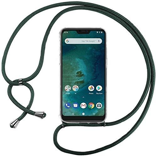 Ingen Funda con Cuerda para Xiaomi Mi A2 Lite - Carcasa Transparente TPU Suave Silicona Case con Colgante - Verde Oscuro