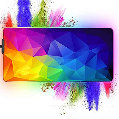 Galdas Large RGB Gaming Mouse Pad - Big Gaming Led Mouse Pad XXL Mouse Pad with Anti-Slip Rubber Base Stitched Edge Mouse Pad for Keyboard (31.5'x12'x0.15') (Brilliant Rainbow)