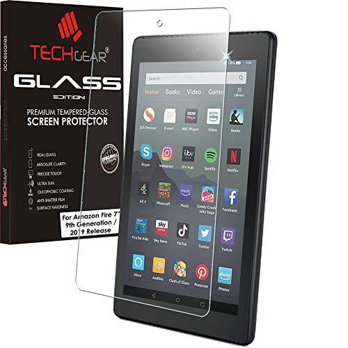 TECHGEAR Vetro Antiriflesso per Tutti Nuovi Amazon Fire 7  2019 Tablet - Edizione Opaca Vetro Temperato [Durezza 9H] [Resistente ai Graffi] [Senza Bolle] [2.5D Bordi]