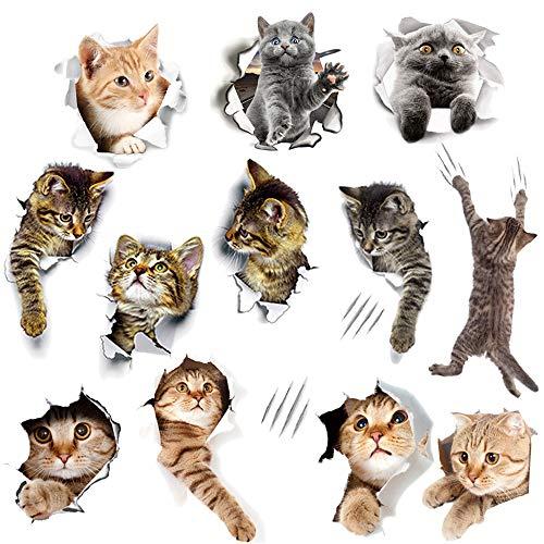 WMdecal - Pegatinas de Vinilo para Pared (12 Unidades, extraíbles, diseño de Gatos, fácil de despegar y Pegar), diseño de Gato