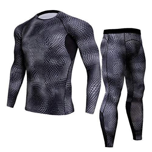 Morbuy Fitness Sportanzug Herren, 2 Stück Funktionsshirt Tights Schnell Trocknend Kompressions T Shirt & Kompressions Leggings Bekleidung (M, Schlangenwaage)