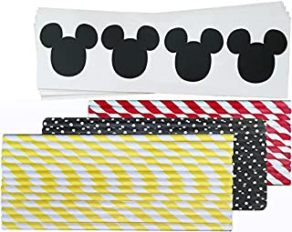 Mickey Mouse Inspired Mouse Ear Vinyl Chalkboard Labels - 60 Pack - Paper Straws - Red Black Yellow White - Stripe Polka Dot - 75 Pack