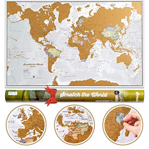 Scratch the World Travel Map - Scratch Off World Map Poster with Gift Tube - X-Large - 84 x 59 cm - Maps International - 50 years + of Map Making
