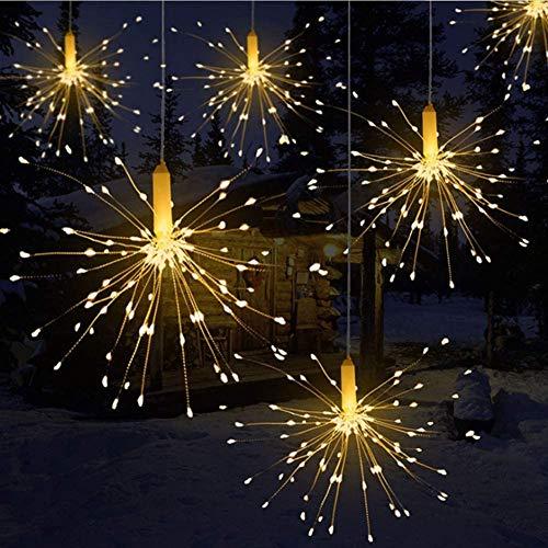 Lichterkette, Queta LED Feuerwerk Lichtkette wasserdicht Weihnachtslichterkette mit Batteriebetrieben Fernbedienung (120 Lampenperlen, Ohne Batterien)