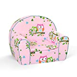 MuseHouse Childrens Chair Armchair Sofa Seat Stool for Kids Toddlers Childs Sofa seat (PinkOwl)