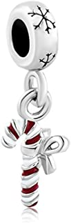 Red Candy Cane Dangle Snowflake Charms Sale Cheap Jewelry Beads Fit Pandora Bracelets