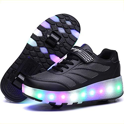 BCXS Schuhe mit Rollen Kinder, Rollschuhe mit LED-Blitz Mehrzweckschuhe mit Rollen, X,33