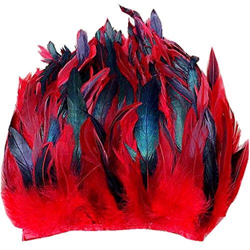 Preisvergleich Produktbild ERGEOB® Echte Hahnenfedern auf 200cm Stoffstreifen in Rot - 13 Farbvarianten - Ideal für Fasching,  Karneval,  Halloween,  Basteln,  Bekleidung,  Kostüme.