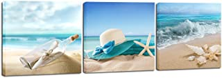 Pyradecor 3 Panels Starfish Seashell Bottle Beach Pictures on Canvas Wall Art Modern..