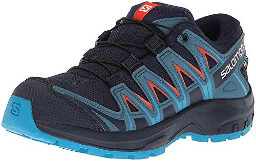 Salomon Kids' XA Pro 3D CSWP J Trail Running Shoes, Navy Blazer/Mallard Blue/Hawaiian Surf, 6