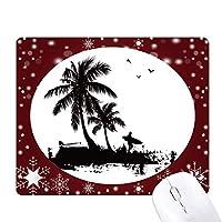 ビーチに椰子の木のイラストパターン オフィス用雪ゴムマウスパッド