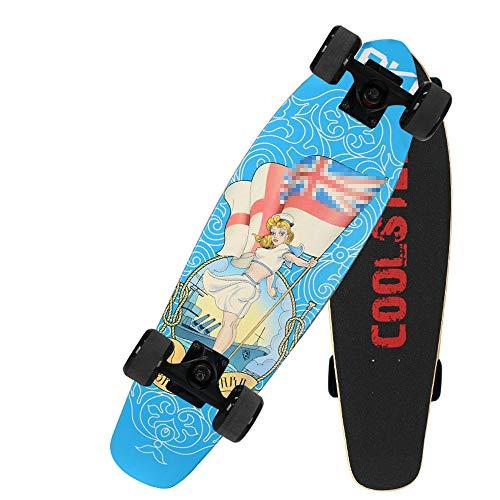 """Hignful Kinder Skateboard, 27\"""" Komplette Surfskate Holzboard Komplettboard Skate Old School Skateboard,7 Lagen Ahorn Deck,Coole Designs Für Kinder Und Jugendliche, Street Long Board Einzelwippe"""
