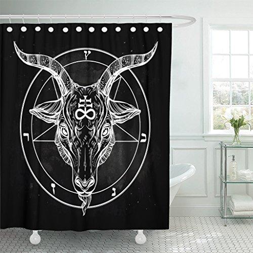 VaryHome Duschvorhang Pentagramm mit Dämonen Baphomet Satanic Ziegenkopf Binär Symbol Tattoo Retro Musik Sommer für Biker Schwarz Wasserdicht Polyester Stoff 182,9 x 182,9 cm Set mit Haken