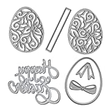 Metal Easter Die Cuts Eggs and Happy Easter Embossing Stencil Cutting Dies for Card Making Scrapbooking Paper Craft Album Stamps DIY Easter Décor