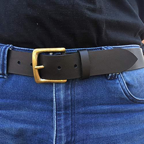 Ledergürtel Herrengürtel Büffelleder Gürtel Schwarz -3- echt Leder, bis 140 cm, 4 cm breit, Handmade
