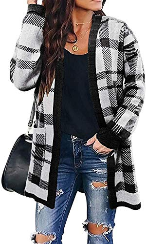 ZESICA Women's Long Sleeves Open Front Leopard Print Knitted Sweater...