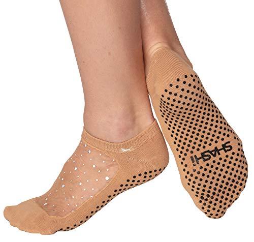 SHASHI Calcetines de yoga divertidos para mujer, antideslizantes, calcetines con purpurina y panel superior de malla para calcetines de barro - marrón - M