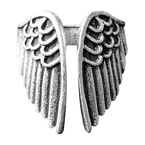 Anillo abierto ajustable de plata con alas de ángel para mujer, estilo bohemio, ajustable, anillo de alas de ángel, joya regalo para mujeres, niñas, madres