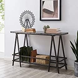 FirsTime & Co. Calumet Farmhouse Metal Storage Console Table, American Crafted, Aged Gray, 47.5 x 16 x 30, (70202)