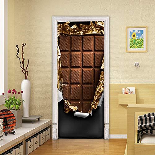 Decorazione per porta 3D di cioccolato, per porte interne, ragazze, camera dei bambini, camera da letto, bagno, WC, decorazione per la casa, 77 cm x 200 cm