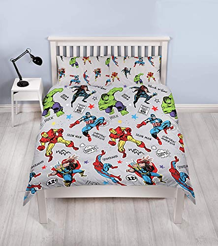 Marvel Comics Double Duvet Cover Set – Spiderman, Captain America, Hulk, Thor & Iron Man Reversible Bedding (Grey)