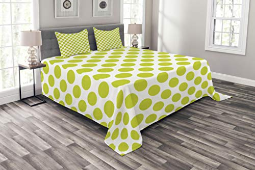 Ambesonne Lime Green Bedspread, Nostalgic Polka Dots Style Large Circles Girlish Vintage Rounds Pattern, Decorative Quilted 3 Piece Coverlet Set with 2 Pillow Shams, King Size, Apple Green
